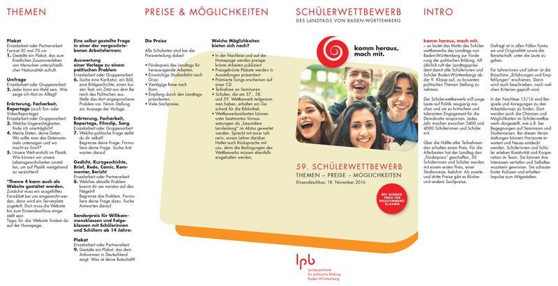59. Schülerwettbewerb des Landtags zur Förderung der politischen Bildung