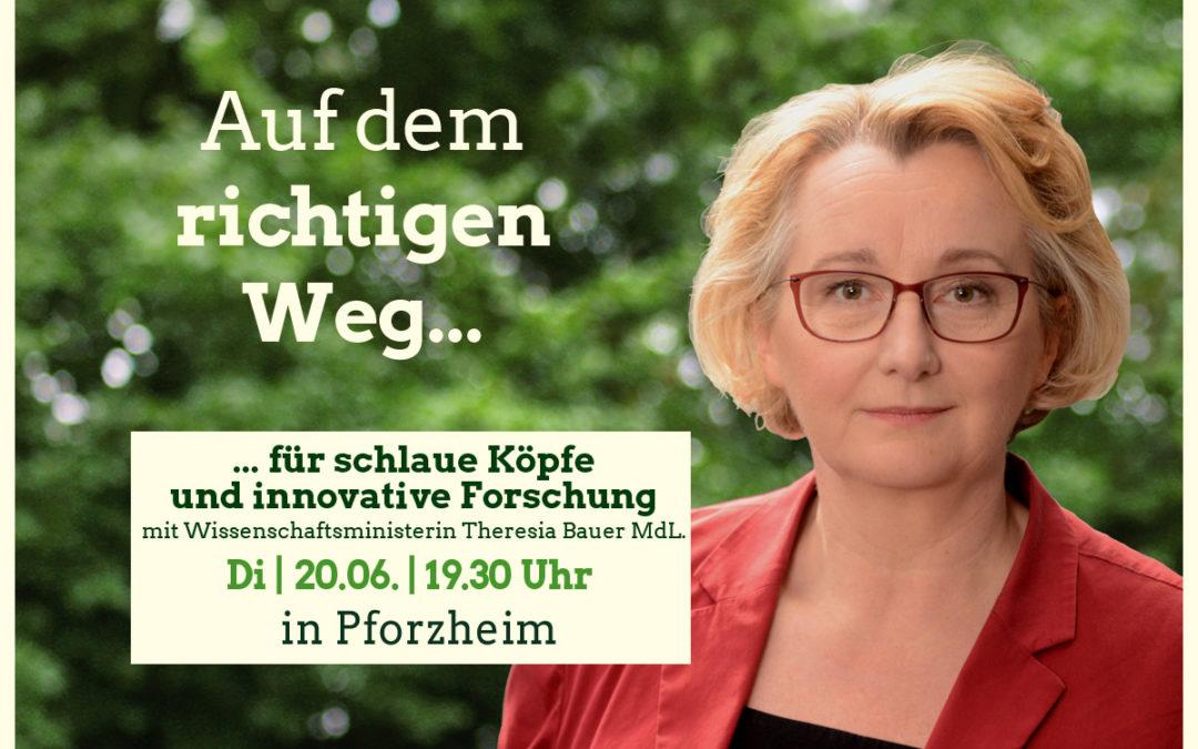 Grün regiert: Ministerin Theresia Bauer kommt am 20.6. nach Pforzheim