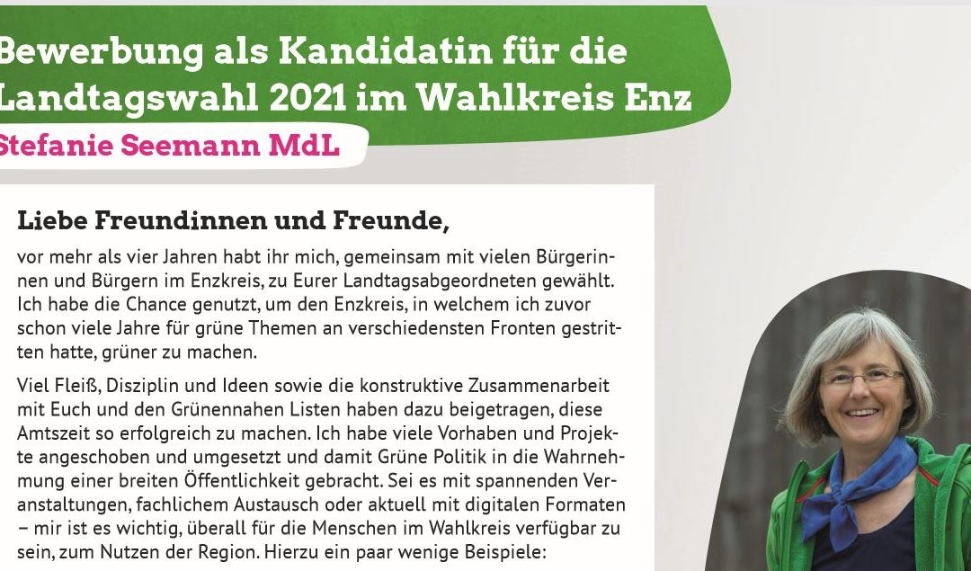 Bewerbung als Kandidatin für die Landtagswahl 2021 im Wahlkreis Enz