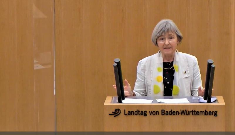 Stefanie Seemann redet in Stuttgart im Landtag